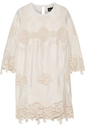 Just Cavalli Crochet Trimmed Satin Mini Dress White
