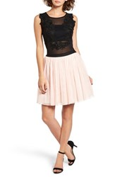 Way In Women's Lace Applique Colorblock Fit And Flare Dress