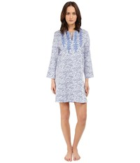 Oscar De La Renta Cotton Sateen Sleepshirt Blue Linear Reflection Women's Pajama