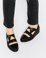 Park Lane T Bar Chunky Leather Flat Shoes Black