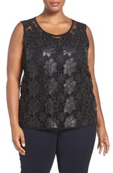 Addition Elle Love And Legend Plus Size Women's Lace Front Sleeveless Top Black