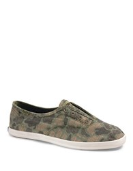 Keds Chillax Camouflage Canvas Ripstop Sneakers Olive Green