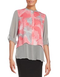 T Tahari Tiered Button Front Shirt