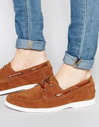 Asos Boat Shoes In Tan Faux Suede Tan