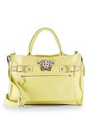Versace Leather And Silvertone Satchel Green