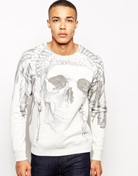 Solid Solid Sweatshirt With Skull Sublimation Print Grey