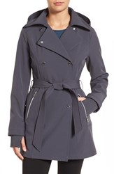 Jessica Simpson Women's Double Breasted Soft Shell Trench Coat Steel