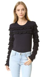 See By Chloe Long Sleeve Ruffle Tee Dark Night