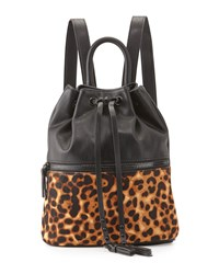 French Connection Mara Calf Hair Drawstring Backpack Black Natural Leopard