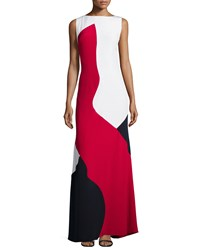 Theia Tri Color Block Slvls Gown Red Multi
