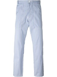 Comme Des Gara Ons Shirt Striped Fitted Trousers Blue