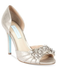 Blue By Betsey Johnson Gown Evening Pumps Women's Shoes Silver