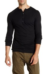 Agave Bishop Long Sleeve Supima Thermal Military Henley Black