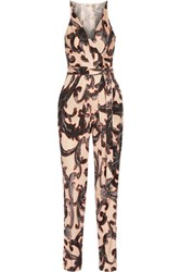 Issa Rubell Printed Stretch Jersey Jumpsuit Neutral