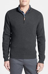Men's Big And Tall Nordstrom Cotton And Cashmere Rib Knit Sweater Grey Dark Charcoal Heather