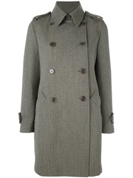 Aspesi Double Breasted Mid Length Coat Green