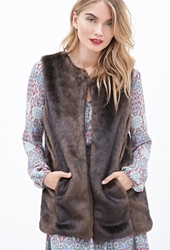 Forever 21 Collarless Faux Fur Vest