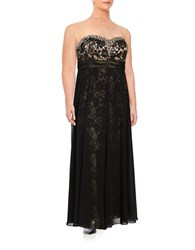 Decode 1.8 Embellished Lace Trimmed Gown Black Champagne