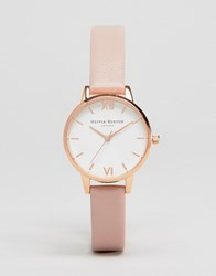 Olivia Burton Midi Dial Pink Leather Watch Ob16mdw03 Pink Gold