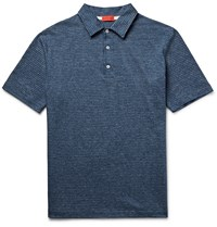 Isaia Slim Fit Patterned Knitted Cotton Polo Shirt Storm Blue