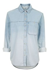 Topshop Moto Dip Dye Oversized Shirt Denim