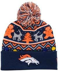 New Era Denver Broncos Christmas Sweater Pom Knit Hat