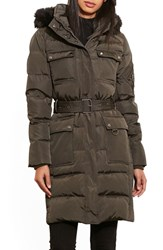 Lauren Ralph Lauren Women's Faux Fur Trim Hooded Down And Feather Fill Utility Coat Litchfield Loden