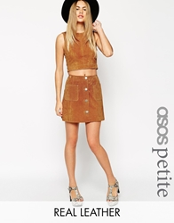Asos Petite Button Through A Line Suede Skirt Tan