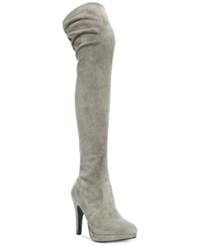 Report Nadya Over The Knee Stretch Boots Women's Shoes Gray Suede