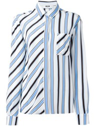 Msgm Striped Shirt Blue