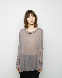 Rick Owens Slim Sleeve Drape Neck Top Pearl