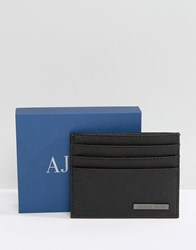 Armani Jeans Card Holder In Safiano Faux Leather Black