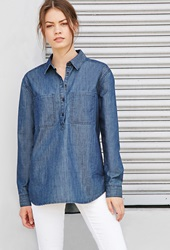 Forever 21 Chambray Popover Shirt Denim
