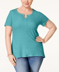Styleandco. Style And Co. Plus Size Split Neck T Shirt Only At Macy's Pacific Aqua