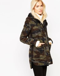 See U Soon Hooded Coat In Brushed Camo Khaki