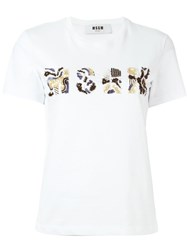 Msgm Beaded Logo T Shirt White