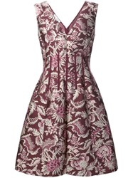 Oscar De La Renta Floral Pattern Flared Dress