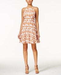 Nine West Printed Halter Fit And Flare Dress Orange White