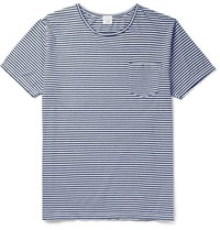 Orslow Striped Cotton Jersey T Shirt Blue