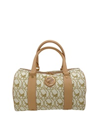 Chopard Milano Leather Trim Canvas Handbag Beige Camel