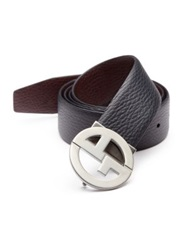 Giorgio Armani Reversible Grained Leather Belt Navy