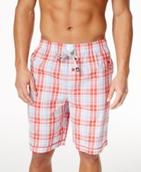 Psycho Bunny Men's Plaid Woven Poppy Red Pajama Shorts
