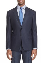 Armani Collezioni Men's 'G Line' Trim Fit Check Sport Coat Sea Blue