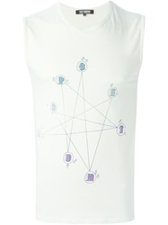 Raf Simons Vintage Constellation Print Tank Top Nude And Neutrals