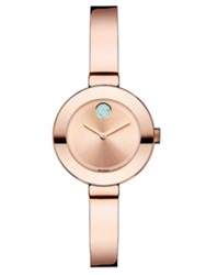 Movado Bold Rose Goldtone Ip Stainless Steel And Crystal Small Bangle Bracelet Watch