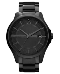 Ax Armani Exchange Watch Men's Black Ion Plated Stainless Steel Bracelet 46Mm Ax2104