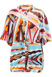 Emilio Pucci Printed Cotton Blend Terry Top Orange
