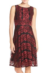 Women's Gabby Skye Metallic Lace A Line Dress Black Crimson