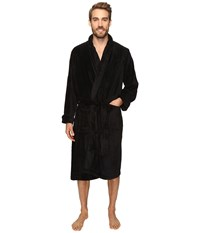 Jockey Sculptured Striped Fleece Robe Black Men's Robe