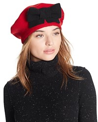 Helene Berman Beret With Bow Red Black